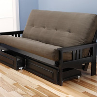 Woodbury Full Size Futon Sofa and Drawer Set, Black Painted Hardwood Frame And Soft Suede Innerspring Mattress, Olive