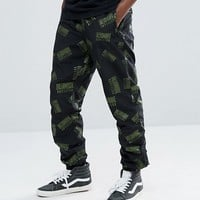 Billionaire Boys Club Track Joggers With Repeat Logo Print In Black at asos.com