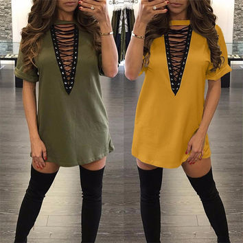 Hollow Out V Neck Short Sleeve Sexy Night Club Loose Short Dress