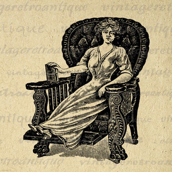 Printable Antique Lady in Chair Digital Download Woman Graphic Girl Image Vintage Clip Art for Transfers etc HQ 300dpi No.1128