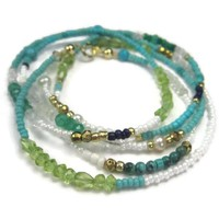 Long Gemstone and Seed Bead Necklace or Wrap Bracelet Blue Green