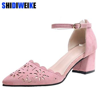 Women Pumps Sexy High Heels Shoes Woman Pink Hollow Carved Wedding Shoes High Heels Party Shoes Summer Hight Heels Sandals