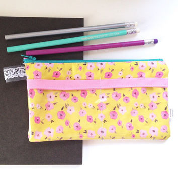 Floral Ditsy Yellow Pencil Case with pockets (handmade philosophy's pattern)