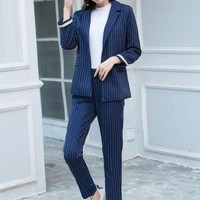 ONETOW rugod elegant business suits Women striped blazer and long pants suits feminino ol slim runway trousers suits
