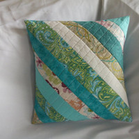 Exquisite Spring strip quilted pillow cover, handmade quilted pillow sham, quilted patchwork pillow, quilted blue and green pillow cover