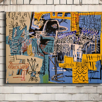 Oil Painting Cuadros Art Bird-on-money Jean Michel Basquiat -neo-expressionism For Graffiti Print On Canvas For Home Decoration