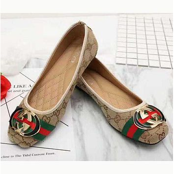 Gucci Big logo Green Red Stripe Print Flat Shoes Canvas Women Sandals Shoes G/F-LLBPFSH