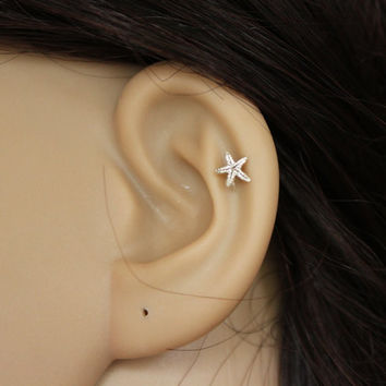 Sterling silver starfish stud earring, starfish earring, star cartilage, star tragus earring, cartilage earring, tragus stud