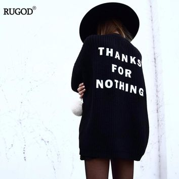 RUGOD 2018 New Arrival Autumn Winter Spring Knitted  Sweater for Women Long Letter Open Stitch Female Sweaters Cardigan Women
