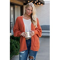 This Is My Time Open Cardigan Sweater : Orange