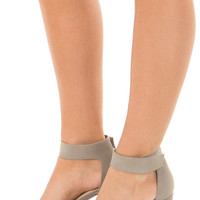 Light Grey Faux Suede Open Toe High Heels