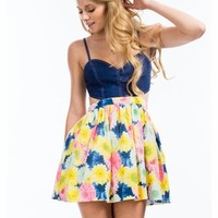 Denim Bouquet Flared Dress - GoJane.com