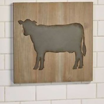 Farmhouse Cow Silhouette Wall Art  Farm Animal Country Rustic Kitchen Decor