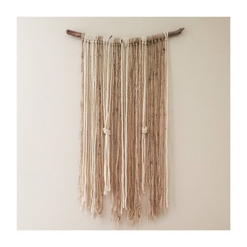 yarn wall hanging, home decor, wall art, nursery hanging, boho fibre art