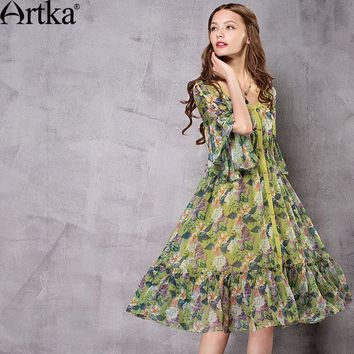 Artka Women's 2017 Autumn Floral printed Chiffon Ruffled Dress Vintage V-Neck Butterfly Sleeve Empire Waist Dress LA12672X