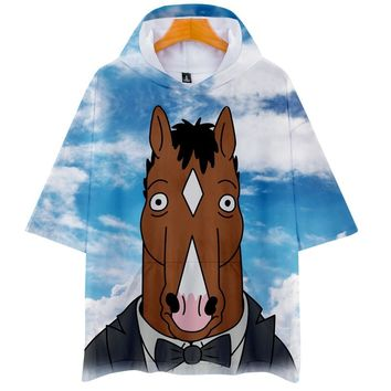 KPOP BTS Bangtan Boys Army  3D BOJACK HORSEMAN Casual Hoodies Women And Men Clothes 2018 Short Sleeve Hooded Hip Hop Tops  Plus Size Q-1260-YH09 AT_89_10