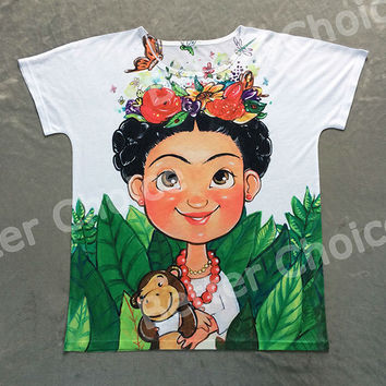 Track Ship + Vintage Retro T-shirt Top Tee Mexico Cartoon Painting Cute Frida Kahlo Butterfly Flower Monkey Toy 0772