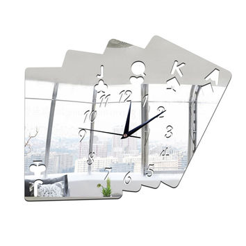 Living Room Wall Clock Creative 3D Poker Digit Sticking    silver