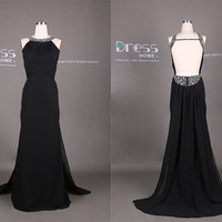 Black Halter Beading Open Back Long Prom Dress/Black Evening Gown/Long Black Party Dress/Long Black Prom Dress/Prom Queen Dress DH334