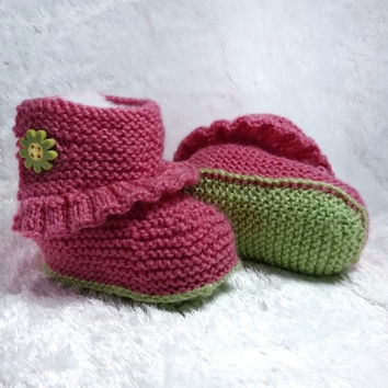 Knitted Baby Booties, Girl Booties, Baby Boots, Baby Slippers, Baby Shoes, Pink Shoes, Baby Shower Gift, 3-6 months