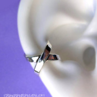 Cross X silver ear cuff earring jewelry - 925 sterling earcuff for men and women 072012