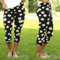 Daisy Darling Capri Patterned Leggings