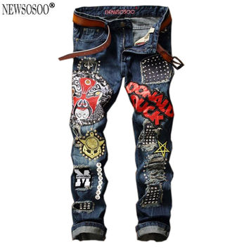 Newsosoo brand name ripped hole men jeans fashion Italy style patch Beaded Owl funny mask straight jeans uomo MJ116