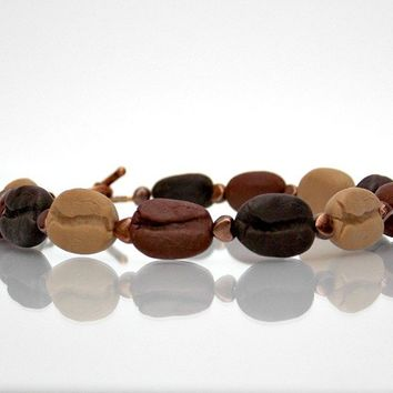 Coffee Bean Beaded Bracelet in Scented or Unscented