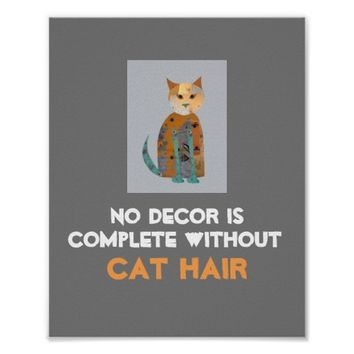 humorous cat poster wall art with text