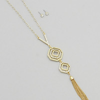 Gold Open Geo Crystal Linear Drop Tassel Necklaces Set
