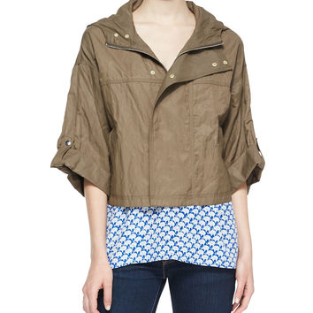 Marlin Cropped Nylon Anorak Jacket, Size: