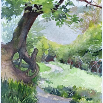 Tree watercolor painting - original wood painting, watercolor on paper