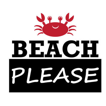 BEACH Please with Crab Punny Decal Sticker