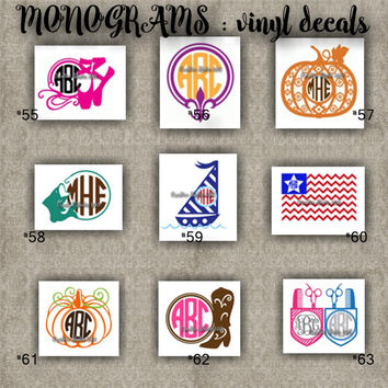 MONOGRAM vinyl decals | name | initial | decal | sticker | car decals | car stickers | laptop sticker - 55-63