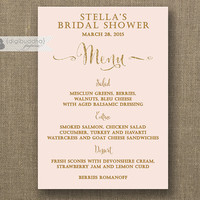 Blush Pink & Gold Menu with Gold Glitter Bridal Shower Menu Wedding Elegant Formal Hens Party Bold Modern Printable Digital or Printed- Mila