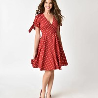 Vintage Style Red & White Polka Dot Fit & Flare Chiffon Dress