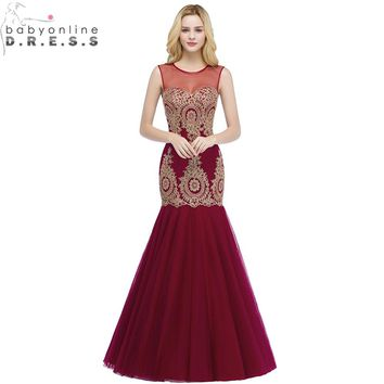 Robe de Soiree Longue Sexy Transparent Burgundy Mermaid Lace Long Evening Dress 2018 Elegant Tulle Evening Gown Vestido de Festa