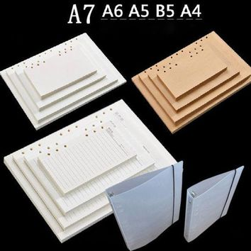 ICIK272 vintage check kraft blank lined notebook paper 4/6/9 hole rings refiller A4 B5 A5 A6 a7 notepad paper stationery