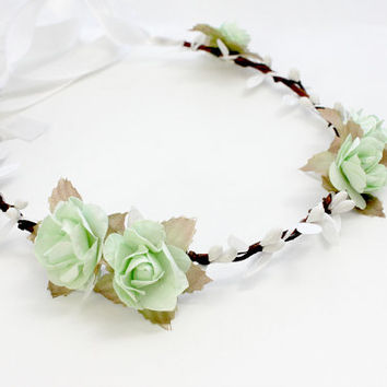 Bridal Floral Crown, Mint Green Flower Crown. Woodland, flower girl, fall, Hair Wreath, Weddings, Bridal Crown