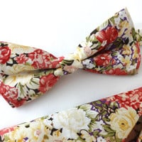 Floral Bow Tie and Pocket Square Set, Wedding Bow Tie, Man Bow Tie, Mens Bow Tie