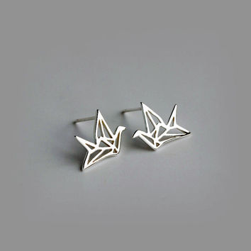 Simple Paper Crane Earrings, sterling silver Crane Stud Earrings,bird stud earrings,bird earrings,gift for her