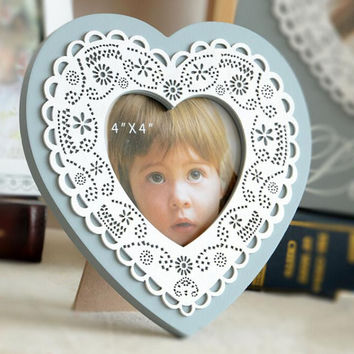 New Blue Heart Wood Home Decor Photo Frame Picture Frame Kids Baby 4''