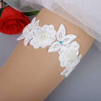Free Shipping original hand-beaded bridal garter Bride bowed legs loops wedding accessories blue pearl embroidered lace garter
