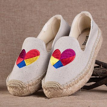 Soludos Love Heart Platform Smoking Embroidery Slipper Thick-bottomed Beige
