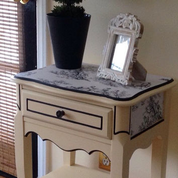 Vintage French Provincial Night Table/End Table Hand Painted Buttercream/Decoupaged in Toile