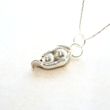Two Peas In A Pod Necklace, Sentimental, Unique Pea Pod