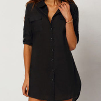 Black Shirt Dress Button Down