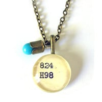 Brass Tulip Casing Robins Egg Blue Drop Dewey Decimal Library Card Necklace