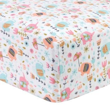 Playful Elephants Deluxe Flannel Fitted Crib Sheet