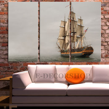 Old Wood Ship Canvas Print - Battleship Canvas - 3 Panel Historic Wooden Sailing Warship Wall Art Canvas - MC145